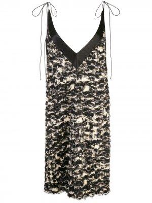 Платье-трапеция из ткани филькупе с принтом Proenza Schouler. Цвет: черный