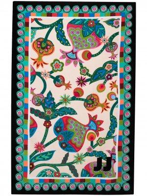 Пляжное полотенце с цветочным принтом La Doublej. Цвет: белый