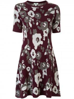 Жаккардовое платье Peonie Kenzo. Цвет: красный