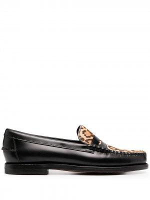 Лоферы с леопардовым принтом Sebago. Цвет: черный
