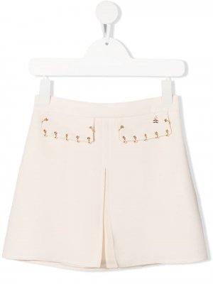 Юбка-шорты с металлическим декором Elisabetta Franchi La Mia Bambina. Цвет: нейтральные цвета