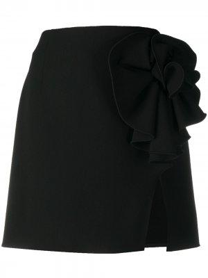 Юбка мини с цветочной аппликацией Magda Butrym. Цвет: черный