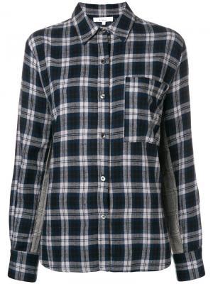 Рубашка в клетку с контрастной вставкой Clu. Цвет: синий