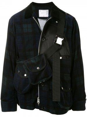 Клетчатое пальто на молнии Sacai. Цвет: синий