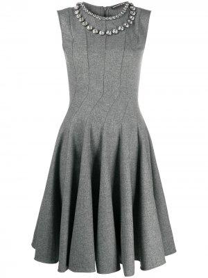 Расклешенное декорированное платье Ermanno Scervino. Цвет: серый