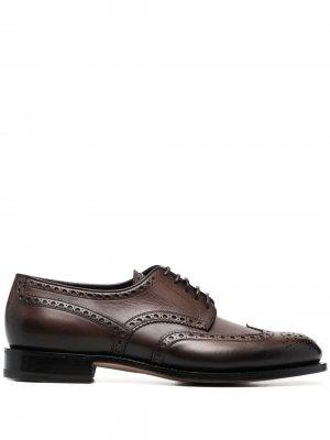 Туфли дерби с тиснением Santoni. Цвет: коричневый