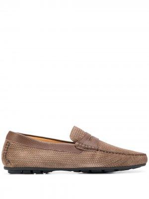 Фактурные лоферы с миндалевидным носком Corneliani. Цвет: коричневый