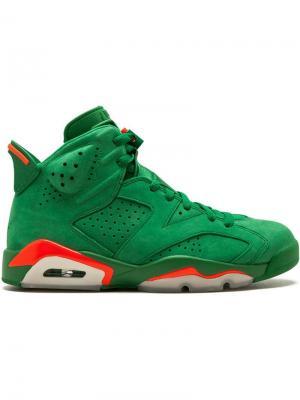 Кроссовки Air  6 Retro NRG Jordan. Цвет: зеленый
