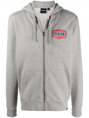 Худи на молнии с логотипом Deus Ex Machina. Цвет: серый