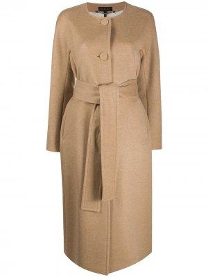 Однобортное пальто с поясом Escada. Цвет: нейтральные цвета