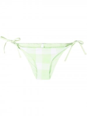 Двусторонние плавки бикини Iris Solid & Striped. Цвет: зеленый