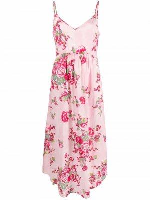 Платье Faraday с цветочным принтом LoveShackFancy. Цвет: розовый