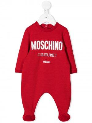 Пижама с круглым вырезом и логотипом Moschino Kids. Цвет: красный