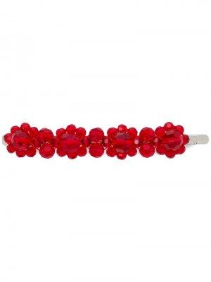 Заколка для волос с цветочным декором Simone Rocha. Цвет: красный
