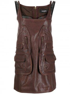 Короткое платье со вставками Dsquared2. Цвет: коричневый