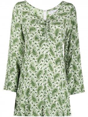 Платье с длинными рукавами и принтом пейсли Faithfull the Brand. Цвет: зеленый