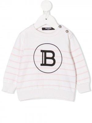 Джемпер в полоску с логотипом Balmain Kids. Цвет: нейтральные цвета