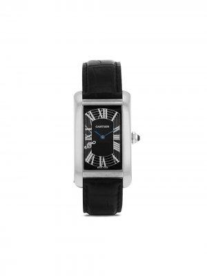 Наручные часы Tank Américaine pre-owned 26.5 мм 2000-х годов Cartier. Цвет: черный
