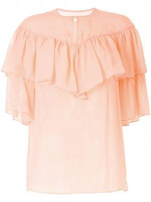 Блузка с оборками Giambattista Valli. Цвет: оранжевый