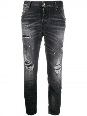 Укороченные джинсы с прорезями Dsquared2. Цвет: черный