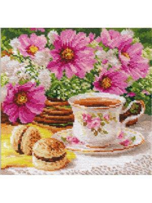 Набор для вышивания Утренний чай 18х18 см  Алиса. Цвет: белый, зеленый, коричневый, кремовый, розовый