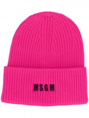 Шапка бини с вышитым логотипом MSGM. Цвет: розовый