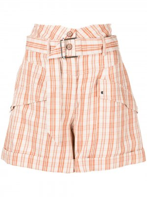 Клетчатые шорты Prisha с завышенной талией Jonathan Simkhai. Цвет: оранжевый