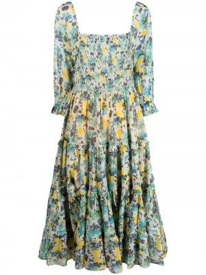 Платье с абстрактным принтом LoveShackFancy. Цвет: синий
