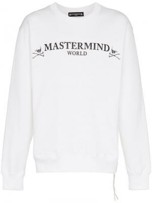 Свитшот с принтом Mastermind Japan. Цвет: белый
