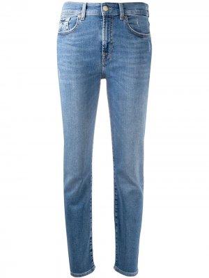 Зауженные джинсы средней посадки 7 For All Mankind. Цвет: синий