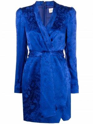 Платье с запахом и цветочным принтом Saloni. Цвет: синий