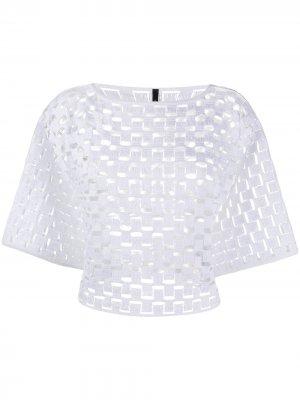 Укороченный топ с вышивкой Pierantoniogaspari. Цвет: белый