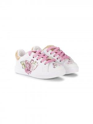 Кроссовки с блестками Monnalisa. Цвет: белый