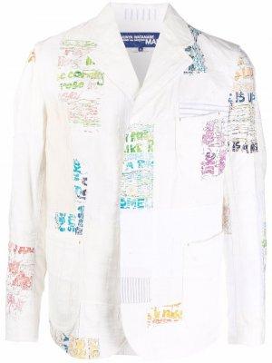 Пиджак в технике пэчворк Junya Watanabe MAN. Цвет: белый