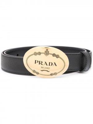 Ремень с пряжкой-логотипом Prada. Цвет: черный