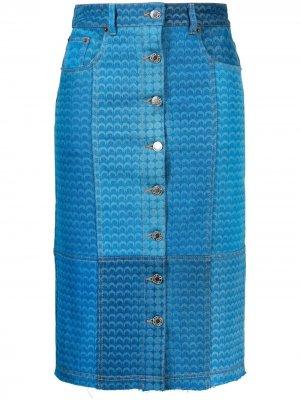 Джинсовая юбка в технике пэчворк Marine Serre. Цвет: синий