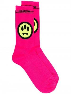 Жаккардовые носки с логотипом BARROW. Цвет: розовый
