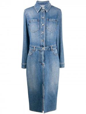Джинсовое платье-рубашка MSGM. Цвет: синий