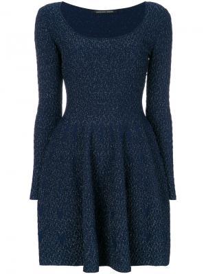 Платье слим с вырезом ковш Antonino Valenti. Цвет: синий