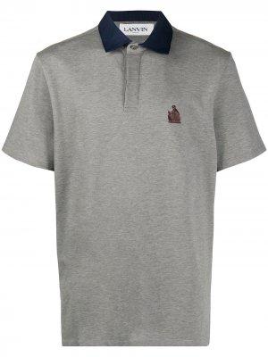 Рубашка поло с вышитым логотипом LANVIN. Цвет: серый