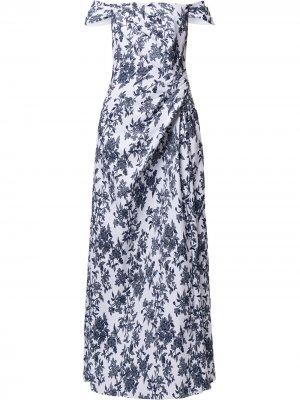 Вечернее платье Airi с открытыми плечами Tadashi Shoji. Цвет: синий