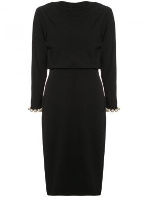 Приталенное платье Badgley Mischka. Цвет: черный