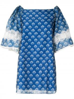 Платье с графичным принтом Sachin & Babi. Цвет: синий