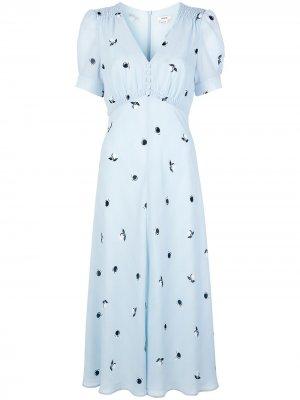 Платье миди с принтом Jason Wu. Цвет: синий