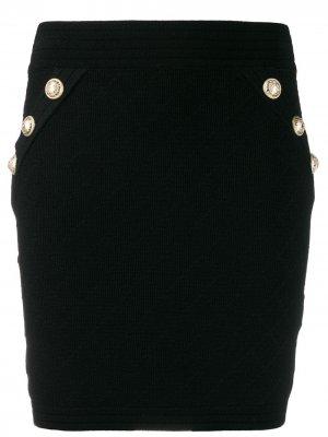Трикотажная юбка мини Balmain. Цвет: черный
