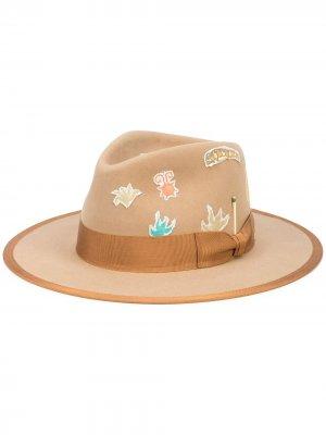 Шляпа-федора Aqua Nick Fouquet. Цвет: коричневый