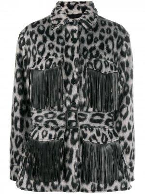 Куртка-рубашка Evita с анималистичным принтом Andamane. Цвет: серый