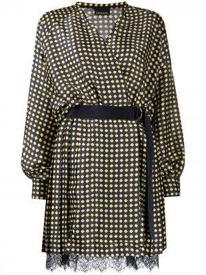 Короткое платье-трапеция с геометричным принтом Ermanno. Цвет: синий