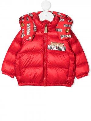 Пуховик с логотипом Teddy Bear Moschino Kids. Цвет: красный