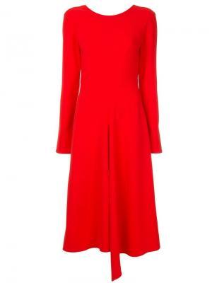 Асимметричное платье миди Tibi. Цвет: красный